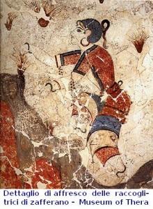 Dettagli di affresco delle raccoglitrici di zafferano_Museum of Prehistoric Thera