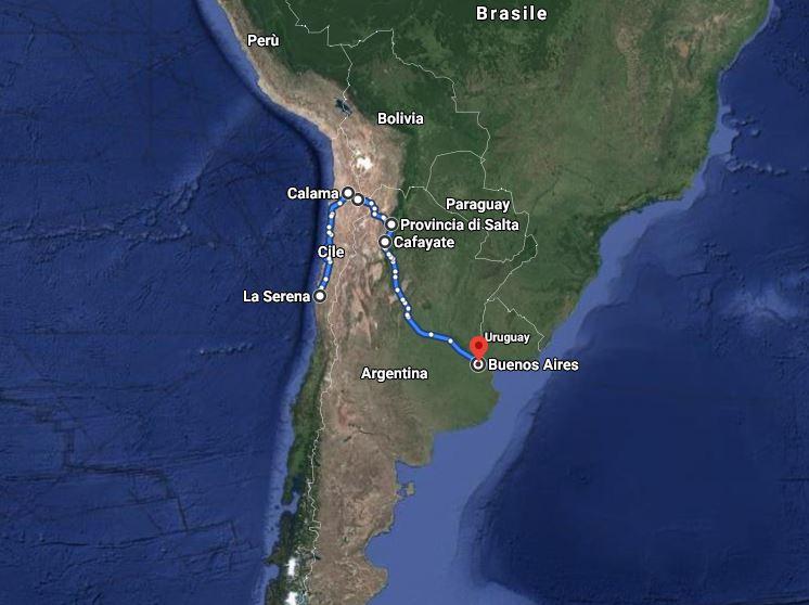 Itinerario del viaggio di Jovanotti in bicicletta