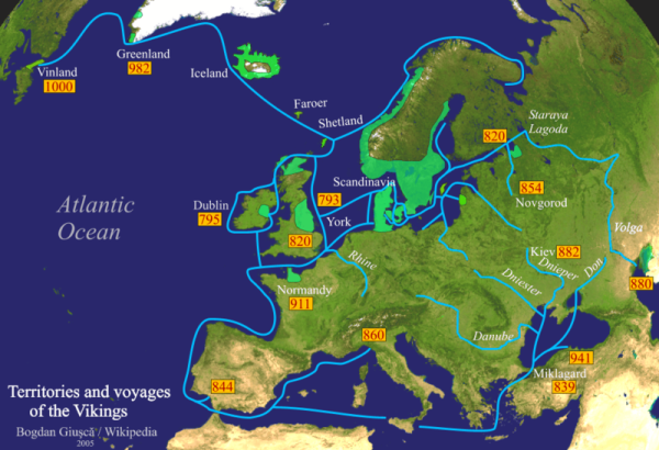 Territories and voyages of the Vikings - vichinghi
