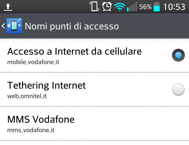 Hotspot wi-fi con vodafone tethering